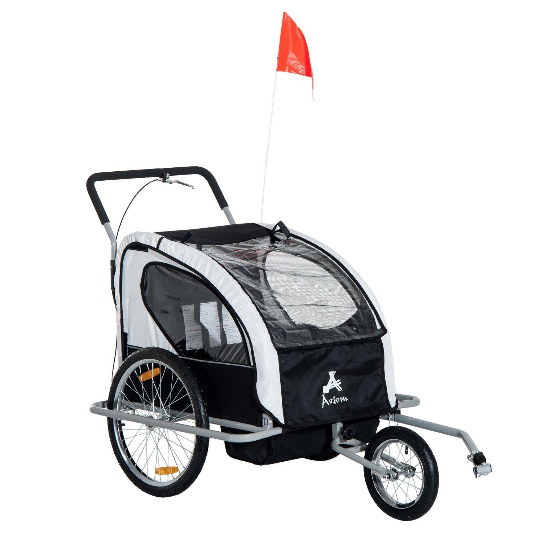 Aosom Elite 2in1 Double Child Bike Trailer / Jogger - Black / White
