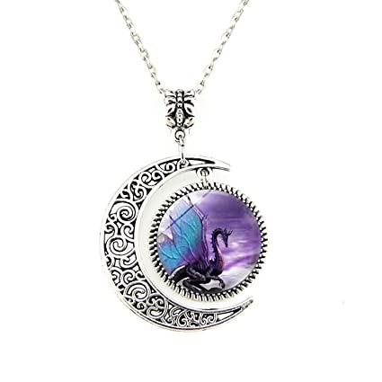 OOOUSE Blue Wing Dragon Moon Necklace Dragon Pendant Necklace or Dragon Keyring Dragon Jewelry Dragon Pendant Dragon Necklace