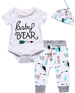 0622386ee10a Amazon.com  Baby Outfit Happy Bear Short Sleeve Romper Long Pants ...