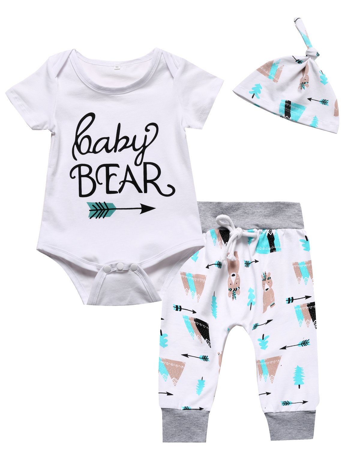 Little Fancy Outfit Set Baby Boy Girl 3PCS Baby Bear Romper (0-3 Months)