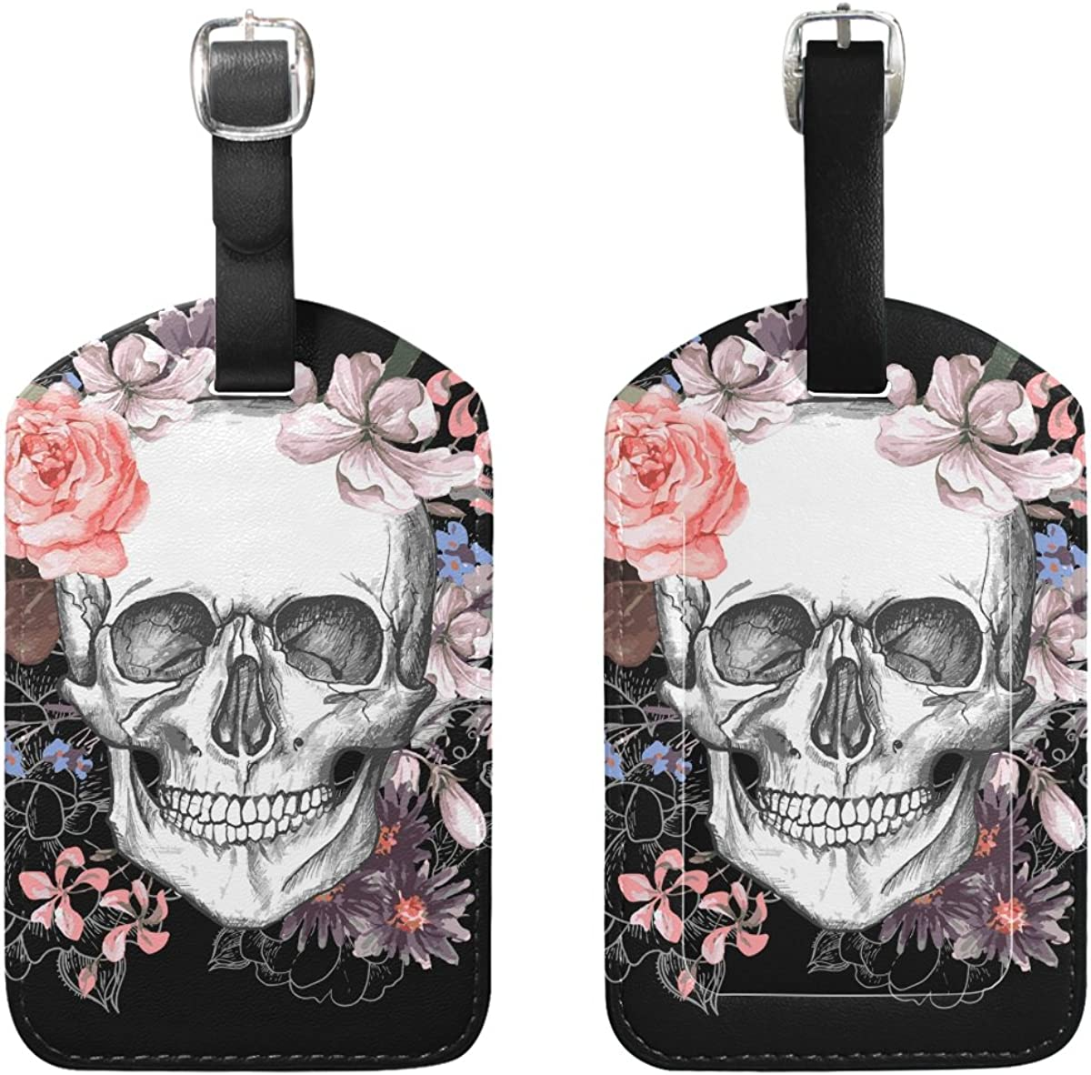 2 Pack Luggage Tags Skull Handbag Tag For Suitcase Bag Accessories