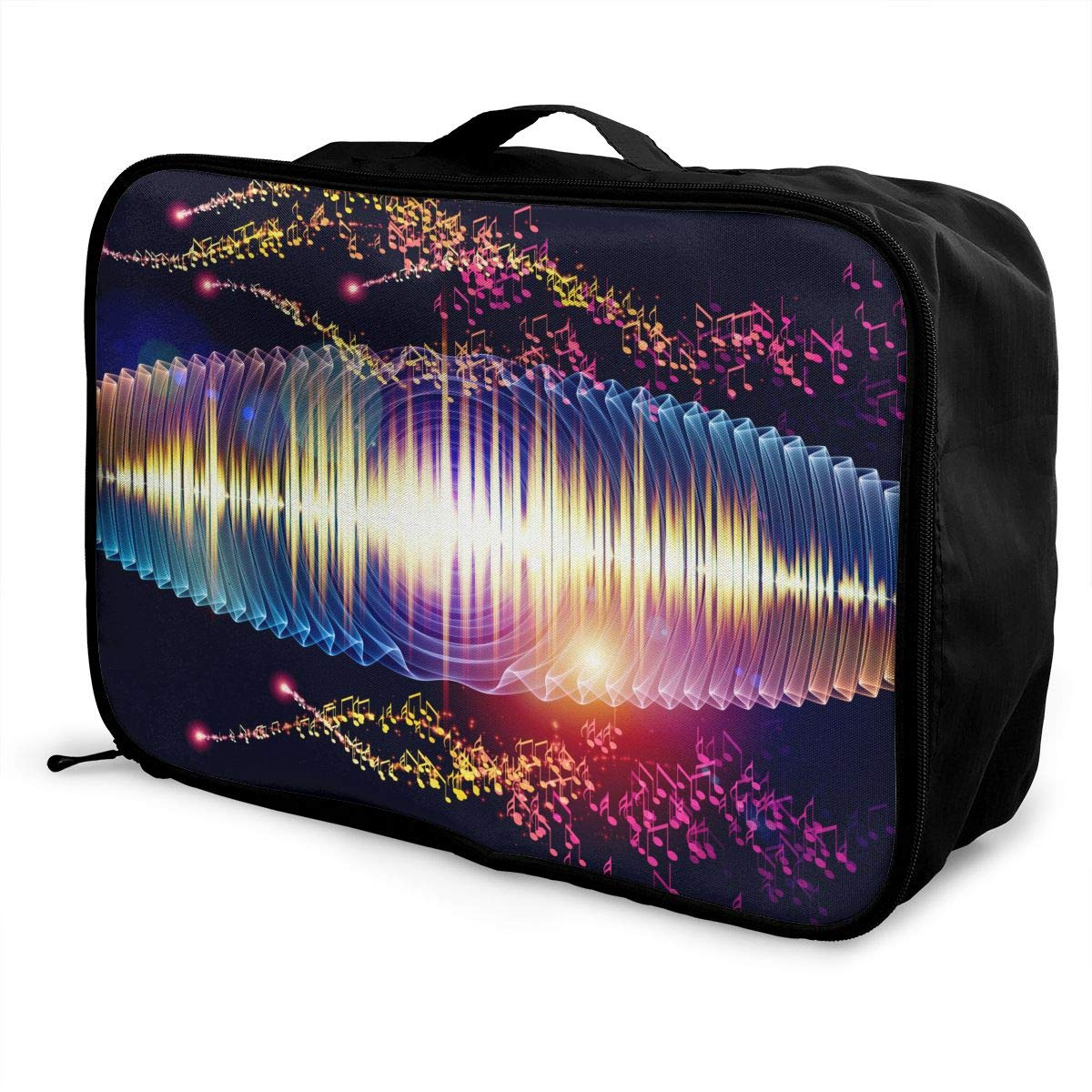 Travel Duffel Bag Waterproof Fashion Lightweight Large Capacity Portable Luggage Bag Colorful Music Notes Bling