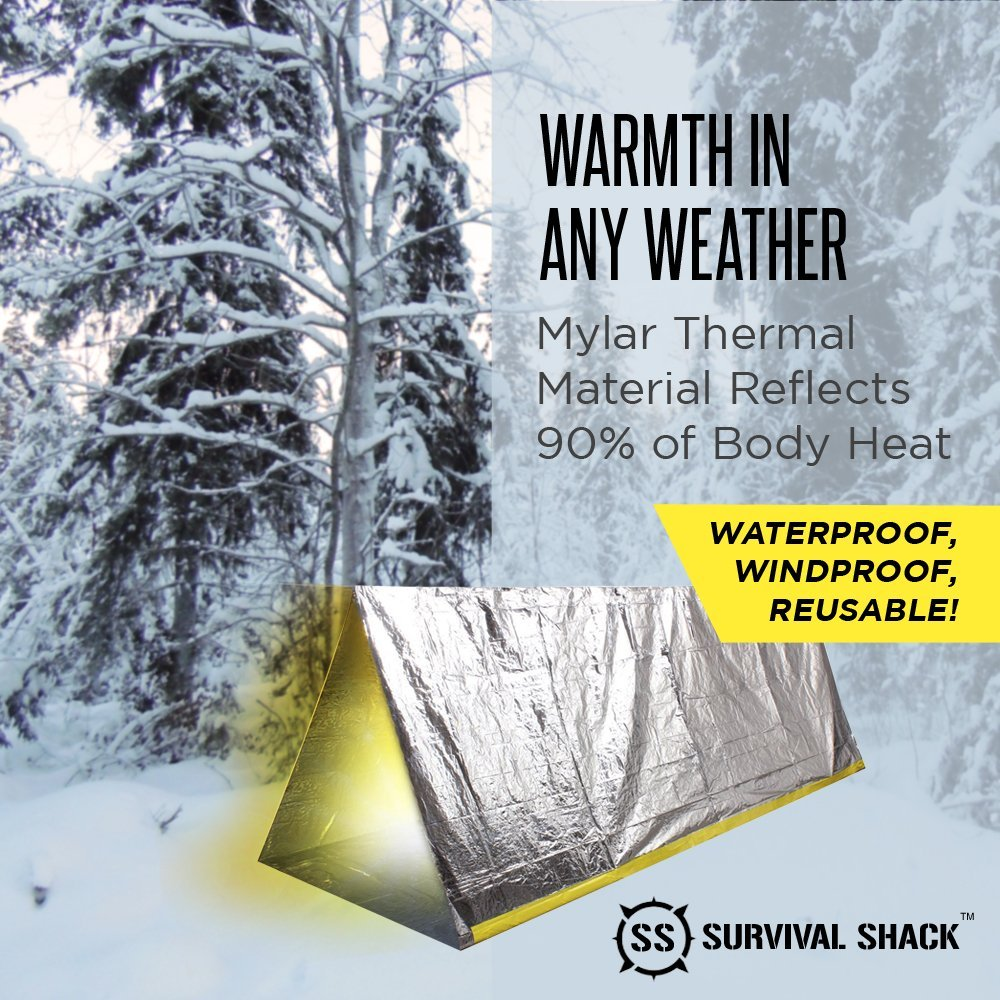 Amazon.com Survival Shack Emergency Survival Shelter Tent | 2 Person Mylar Thermal Shelter | 8u0027 X 5u0027 All Weather Tube Tent | Reflective Material Conserves ...  sc 1 st  Amazon.com & Amazon.com: Survival Shack Emergency Survival Shelter Tent | 2 ...