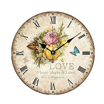 YZD Doméstico Reloj de Pared de Madera 30CM / Reloj de Cocina de Estilo rústico Cocina silenciosa, Oficina en casa, Sala de Estar y Dormitorio Silencio: ...
