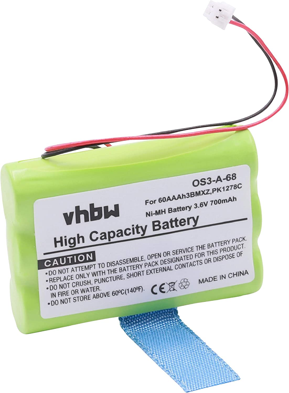 vhbw batería reemplaza Sagem GP60AAAH3BMXZ para teléfono Fijo inalámbrico (700mAh, 3,6V, NiMH)