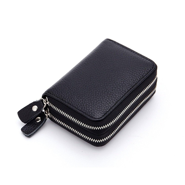 Ailzos Credit Card Wallet,RFID Blocking Leather Credit Card Holder and Double Zipper Credit Card Wallet for Women,Black