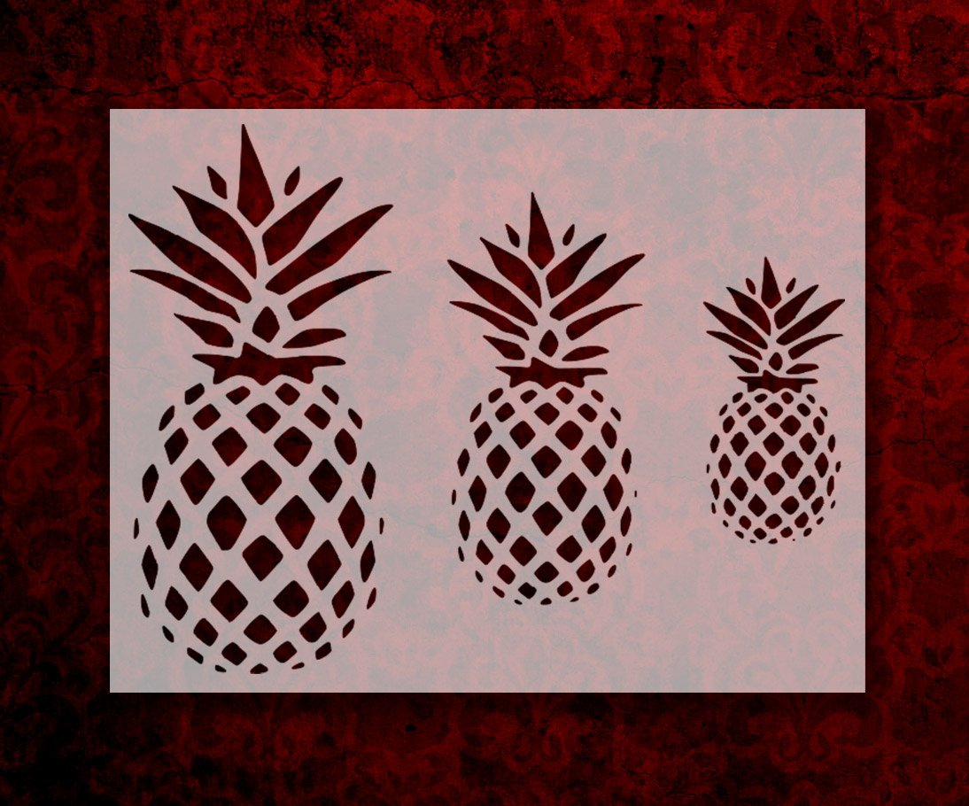 Pineapple Stencil 8.5 x 11 3 Different Size Primitive Pineapples FREE SHIPPING 121