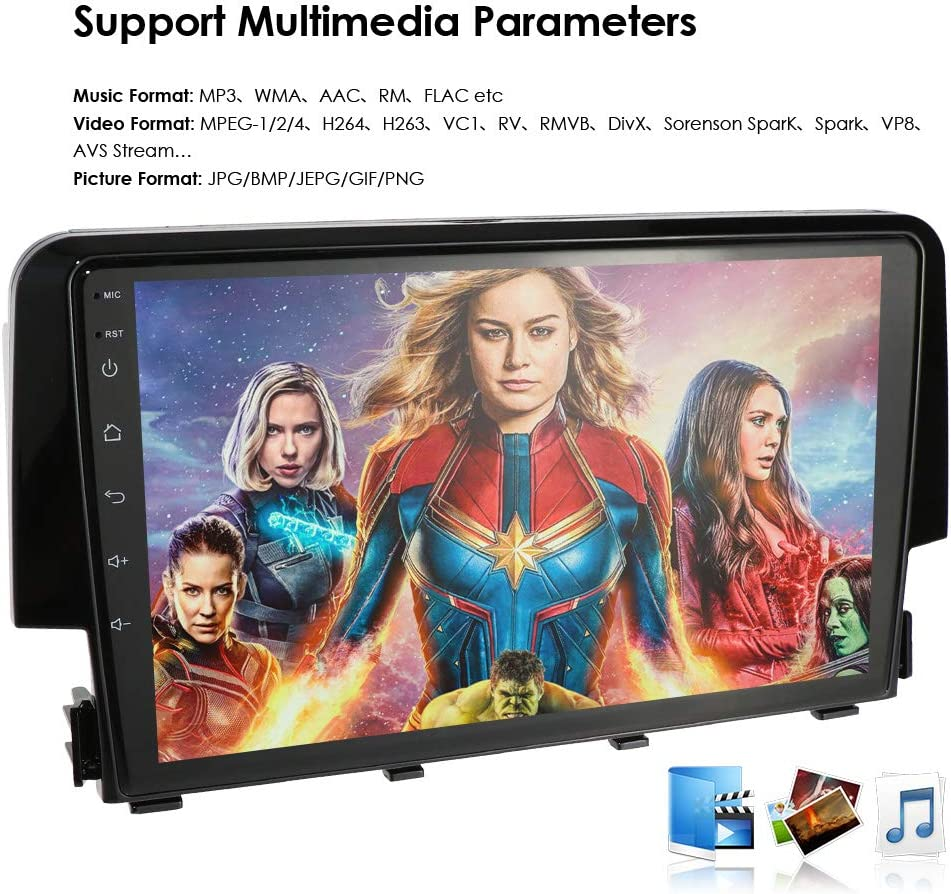 Android 9.0 Car Stereo for Honda Civic 2015 2016 2017 Radio with 9 Screen /& GPS Navigation Head Unit
