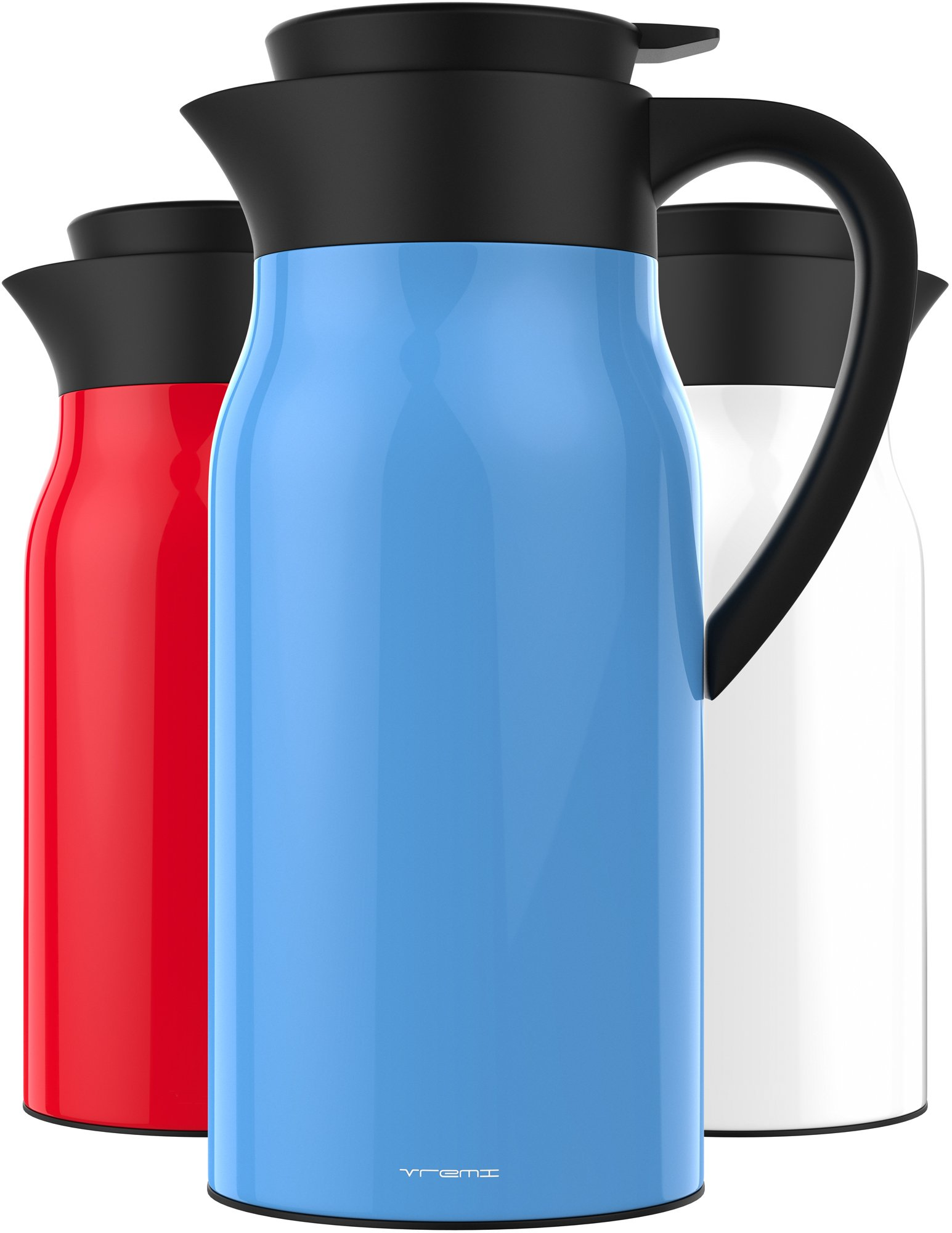 Vremi 51 oz Coffee Carafe - 1.5 liter Tea Thermos Large Travel Bottle Stainless Steel Vacuum Insulated with Leak Proof Lid - Thermal Carafe Hot Drink Carrier Container with Heat Cold Retention - Blue