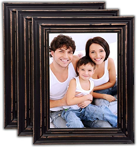 Horizontal and Vertical Formats for Wall and Table Mounting BAIJIALI 5x7 Picture Frame Black Wood Pattern Set of 4 with Tempered Glass,Display Pictures 4x6 with Mat or 5x7 Without Mat