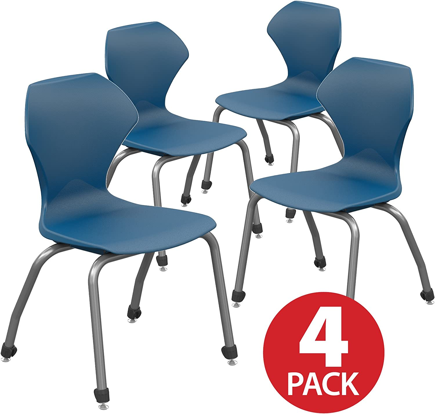 18 Classroom Stack Chair Navy-Seat Marco Group Apex Series 4-Pack Gray-Frame 38a101-18GY-ANA