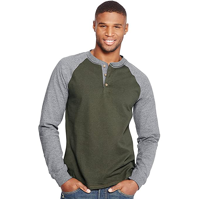02448f28 Hanes Men`s Beefy-T Long-Sleeve Colorblock Henley at Amazon Men's Clothing  store: