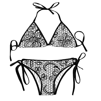 5b0d6d0be6 BLACKY Women s Tie Side Pantie Black Lace Flora Triangle Swimsuits Tankinis  Strappy Bralette Sexy Bathing Suits