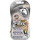 BIC Flex5 Hybrid Kit rasoio da Uomo, 1 Manico e 4 Rasoi