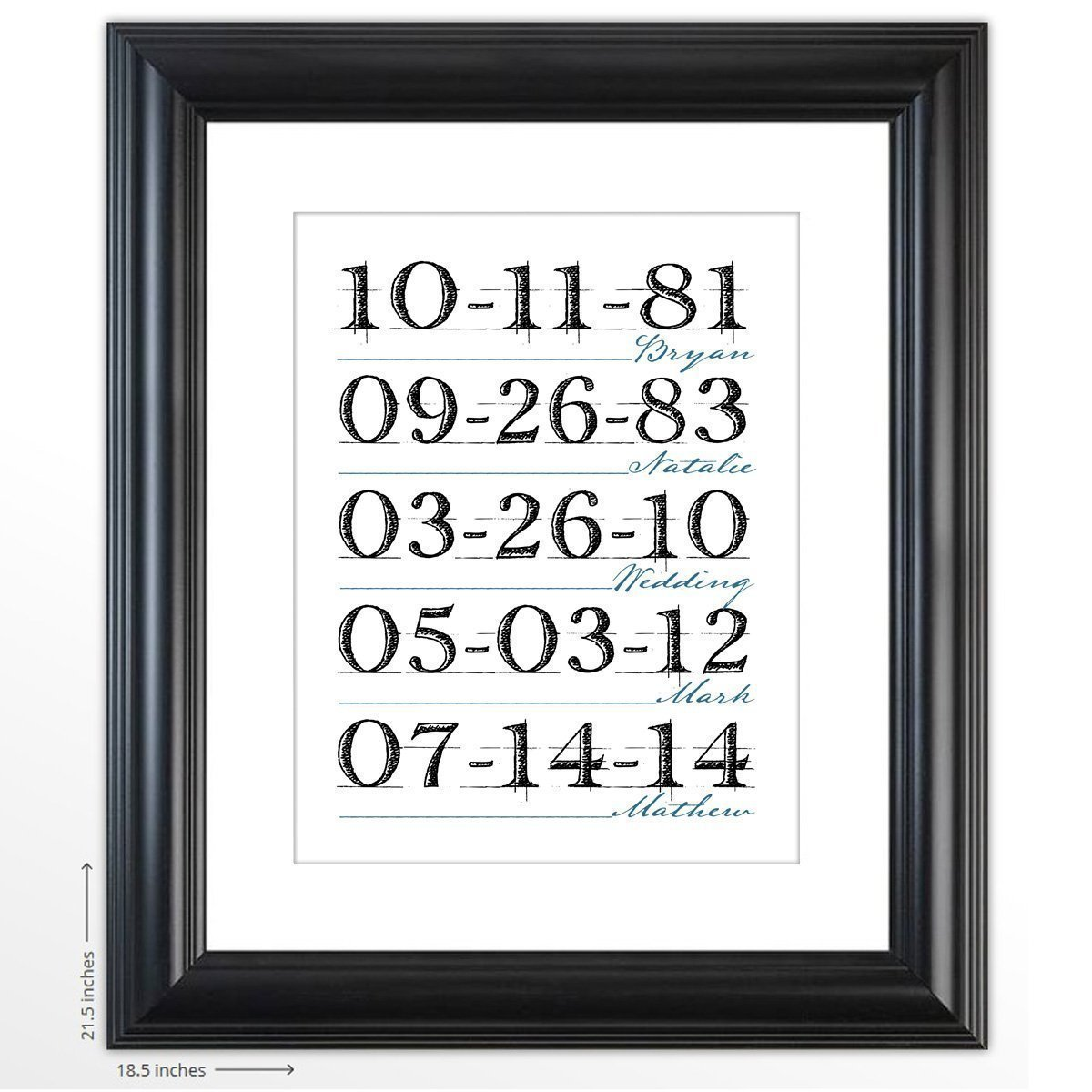 Personalized Unique Print - ''What a Difference a Day Makes'' - The Perfect Present for an Anniversary or for Mother's Day - Customized Framed Print Includes Names and Special Dates