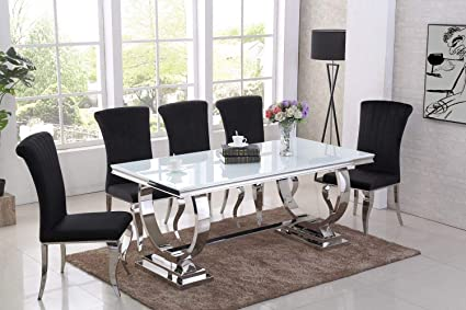 Tremendous Italian Arianna White Black Glass Dining Table Grey Black Ncnpc Chair Design For Home Ncnpcorg