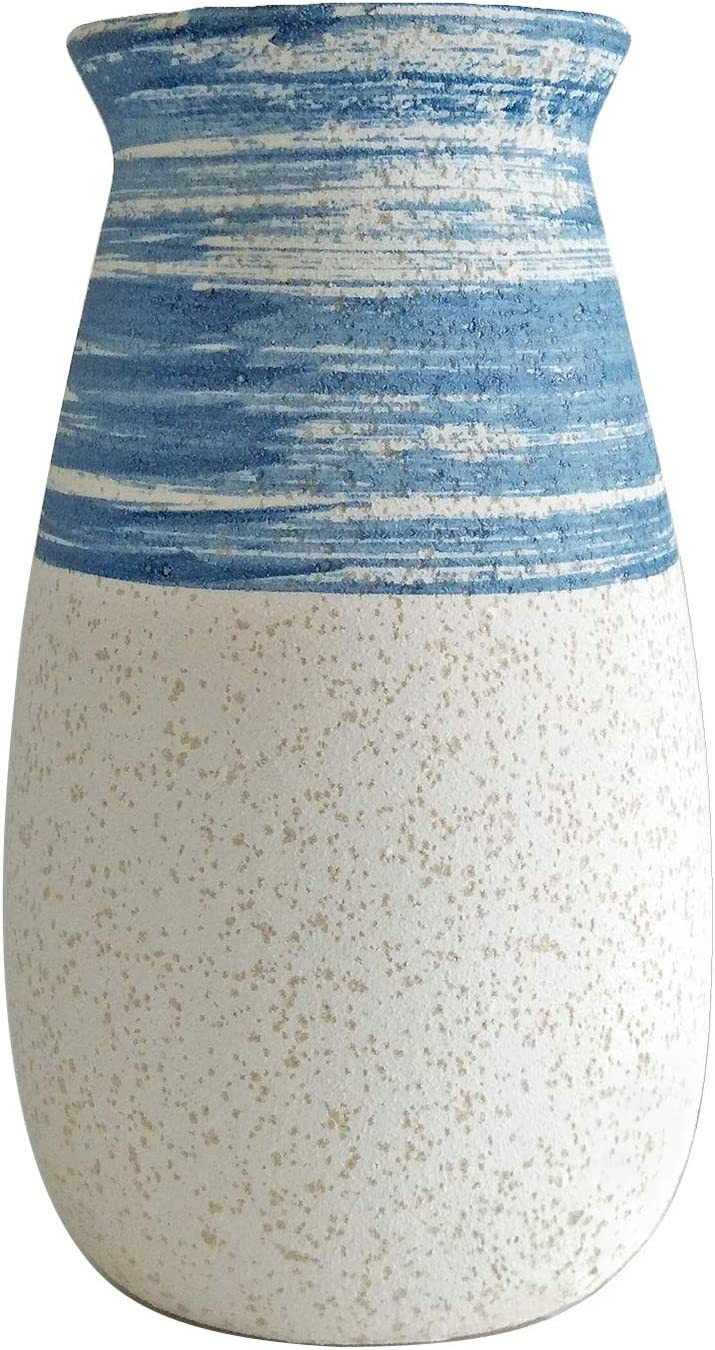 Senliart Clay Vase, Blue and White Artificial Flower Vase, Small Decorative Ceramic Vases 7 x 4