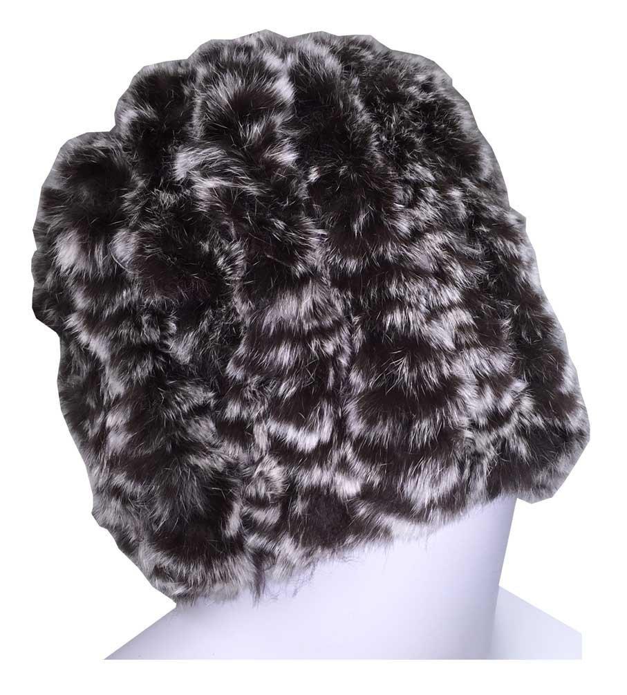Northstar Women's Brown Snow-top Chinchilla Fur Fashion Beanie Hat, Brown. H-11