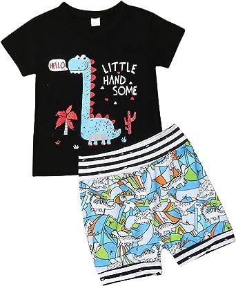 Younger star 2Pcs Baby Boys Cartoon Print Tops T Shirt+Short Pants