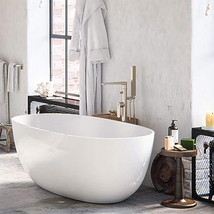 Maykke Barnet 61 Acrylic Bathtub Retains Heat White Modern Oval Freestanding Comfortable Soaking Tub In Bathroom Lavatory Shower Cupc Certified