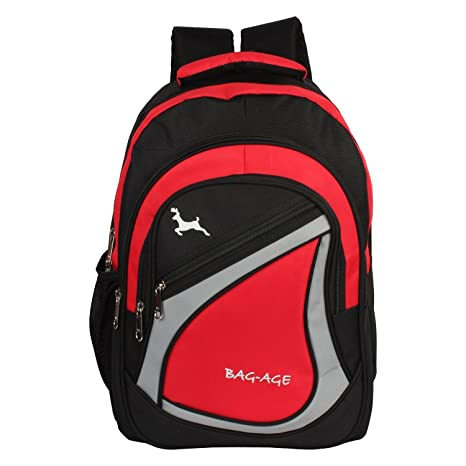 00afda5475 Bag-Age Polyester 30 Ltr Red-Black School Backpack  Amazon.in  Bags ...