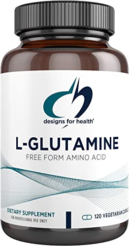 Designs for Health Vegetarian L Glutamine Capsules – 850mg Amino Acids Supplement for Muscle Recovery, Gut and Immune Support – Hypoallergenic, Dairy Free and Gluten Free 120 Capsules