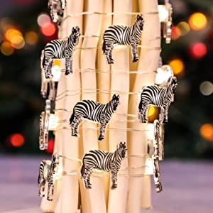 Animals String Lights, USB & Battery Powered, 10 Ft 30 LED Cute Zebra Fairy String Lights with Remote, Perfect for Children Kids Bedroom Decoration
