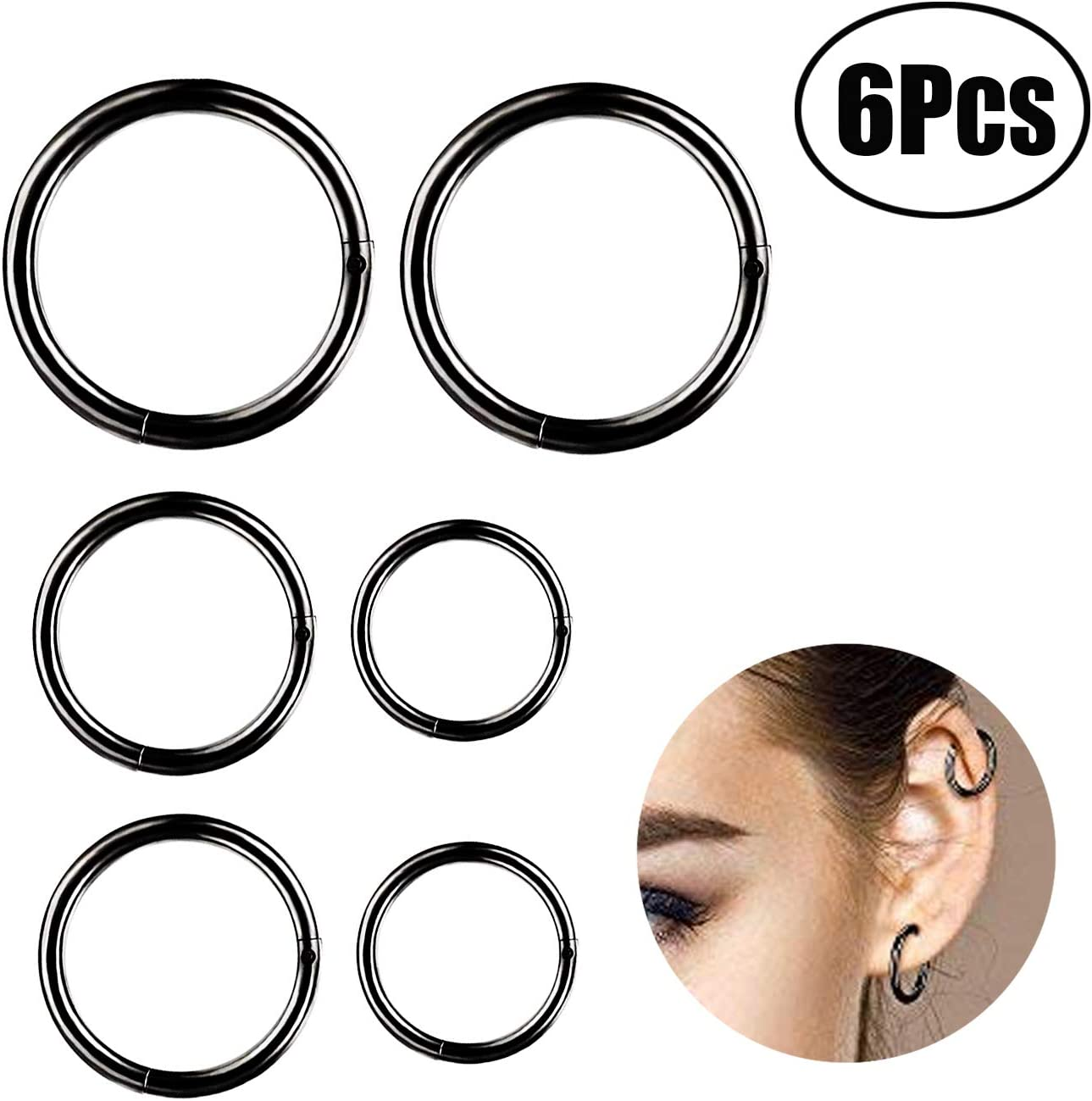Leeq 6 Pieces 16 Gauge Stainless Steel Nose Ring Hoop Seamless