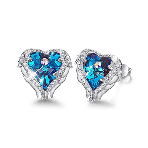 8b7e22281 CDE Angel Heart Stud Earrings White Gold Plated Sterling Silver Swarovski  Crystals Jewelry Women Jewelry with Jewellery Box, Perfect Gift for Girl,  ...