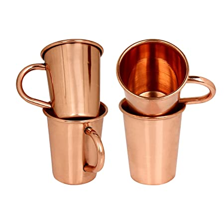 AVS STORE ® Set of 4 Small Solid Copper Moscow Mule shot glasses with handle 2 ounces Glassware & Drinkware at amazon