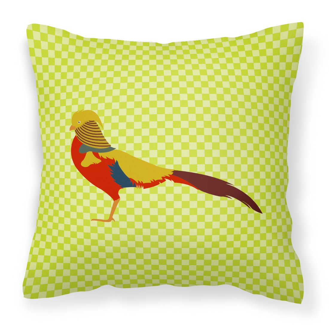 Multicolor Carolines Treasures BB7754PW1818 Golden or Chinese Pheasant Green Fabric Decorative Pillow 18H x18W