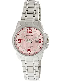 Casio Womens LTP1314D-5AV Silver Stainless-Steel Quartz Watch with Pink Dial