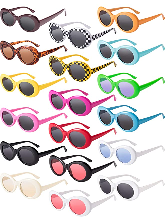 Blulu 18 Pairs Retro Clout Oval Goggles Mod Thick Frame Punk Round Lens Sunglasses 18 Colors Women Men Girls Boys Teenagers Sunglasses by Blulu