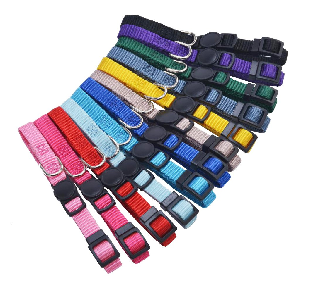 12 pcs/set Soft Nylon Puppy ID Collar Adjustable Breakaway Whelping Litter Collars with Record Keeping Charts