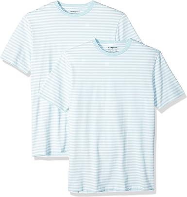 Amazon Essentials - Pack de 2 camisetas de manga corta con cuello redondo y diseño a rayas para hombre: Amazon.es: Ropa y accesorios