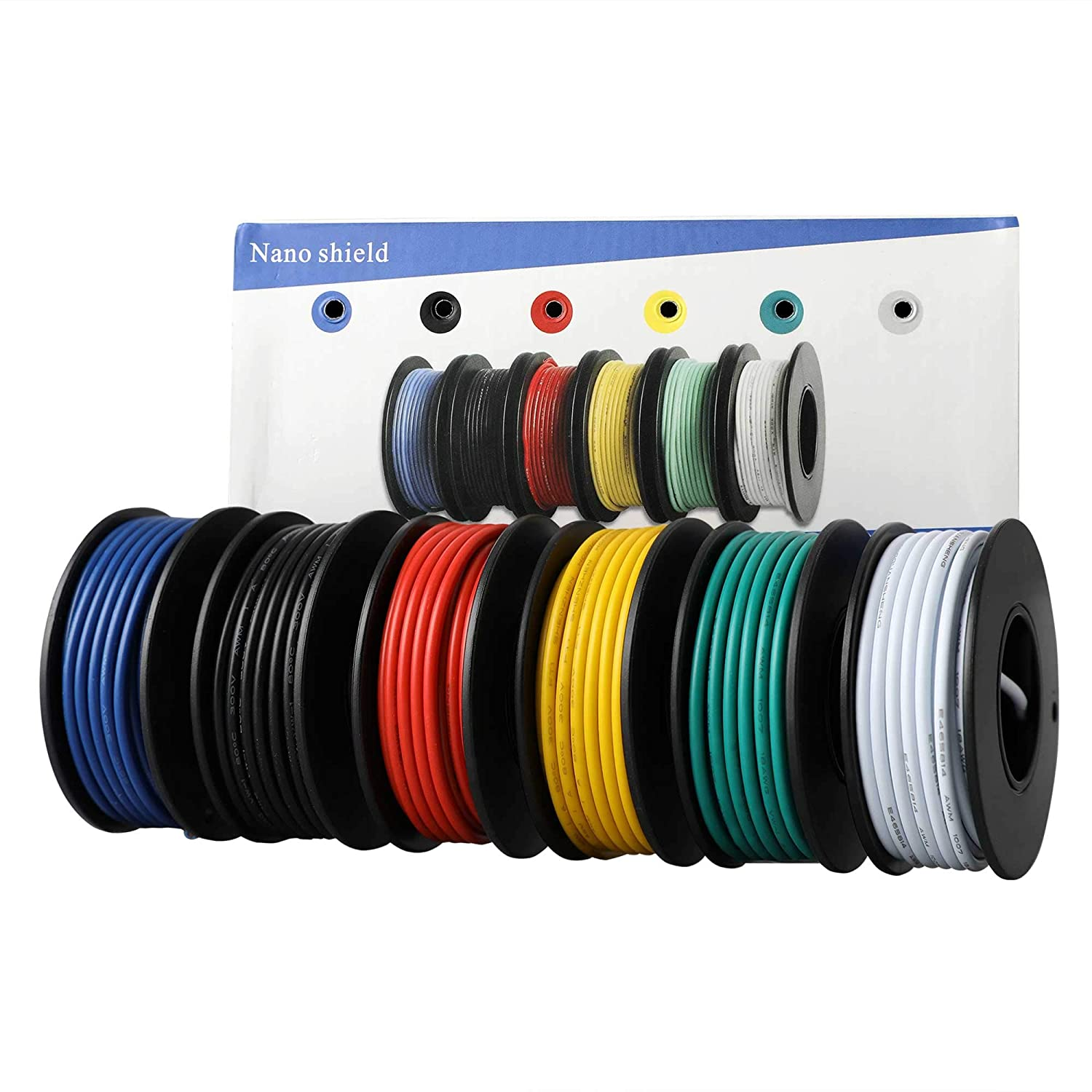 18awg ul1007 pvc stranded tinned copper wire, hook up wire 6 colors (16 4ft each) flexible 34 gauge pvc insulated electrical wire, 300v tinned copper electrical wires electrical cable color code and size
