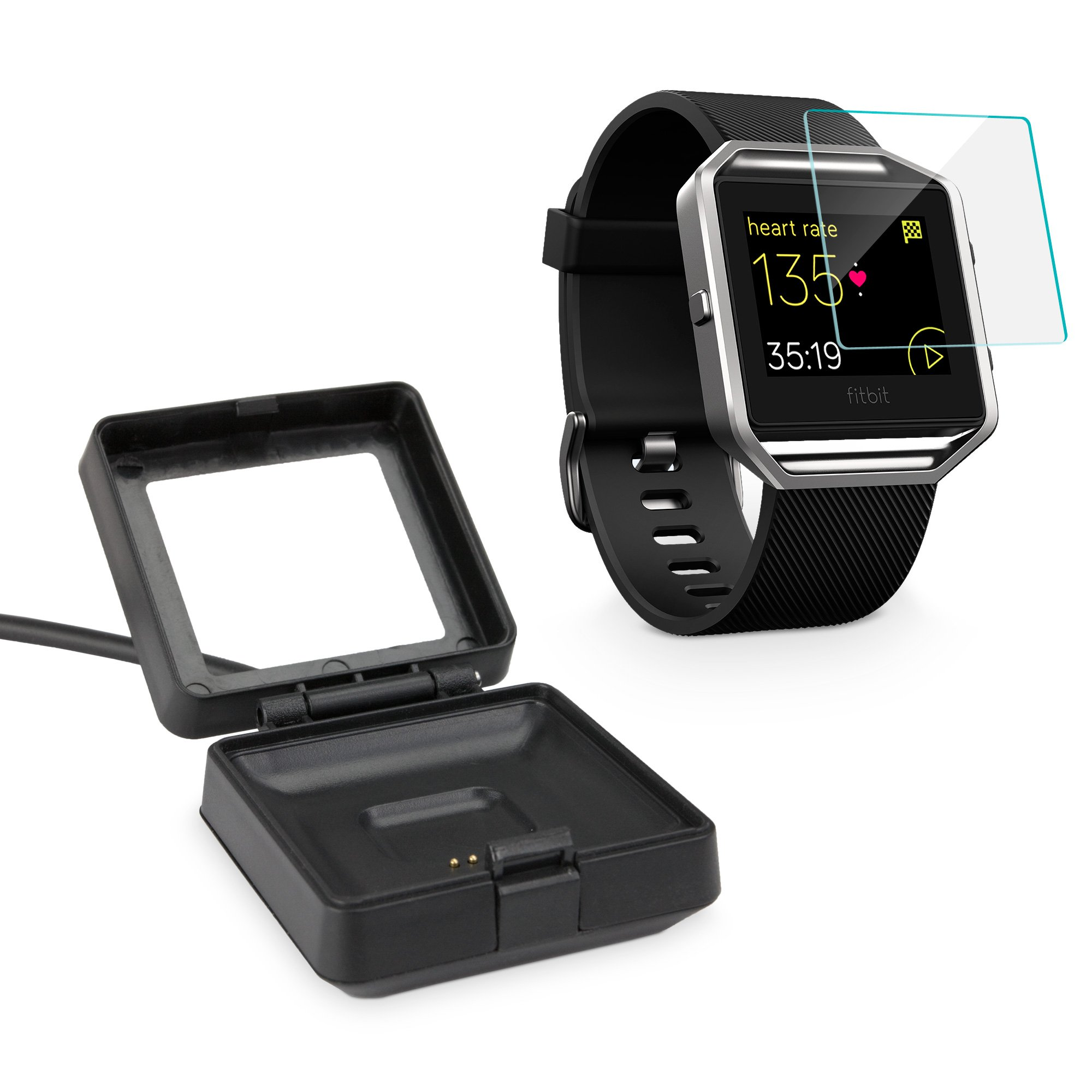 Fitbit Blaze Screen Protector, BoxWave [ClearTouch Glass + Dock] Tempered Glass Screen Protection and Charging Dock for Fitbit Blaze - Jet Black