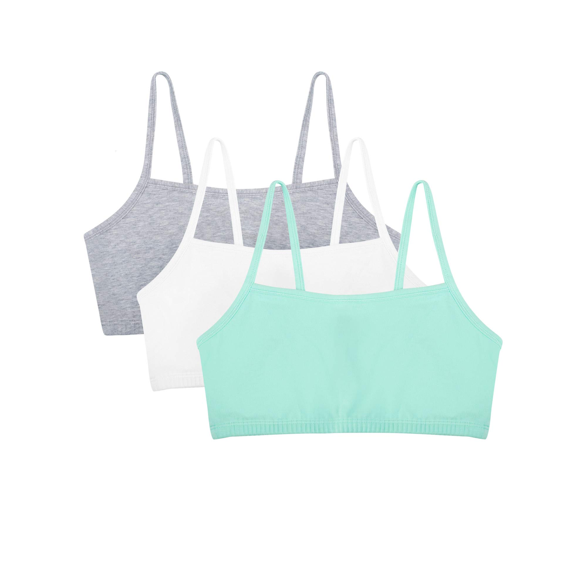 Fruit of the Loom womens Cotton Pullover Sport Bra, mint chip/white/grey heather 34 by Fruit of the Loom