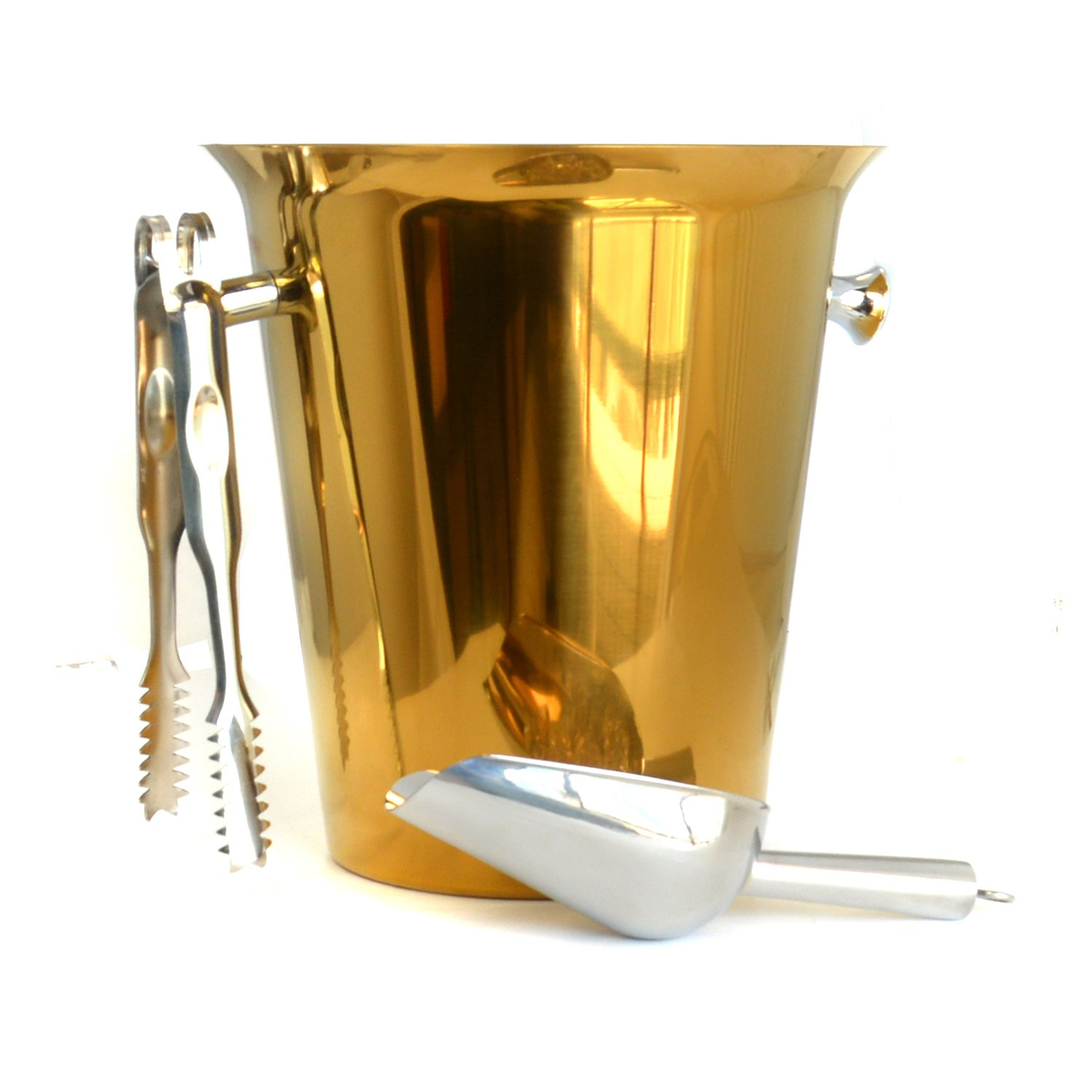 HAPPYNUTS Ice Buckets & Tongs Wine Chillers SET include Stainless Steel 5-Liter Ice Bucket, 8-Inch Ice Tong and 6-Ounce Ice Scoop, Mirror Finish, Gold
