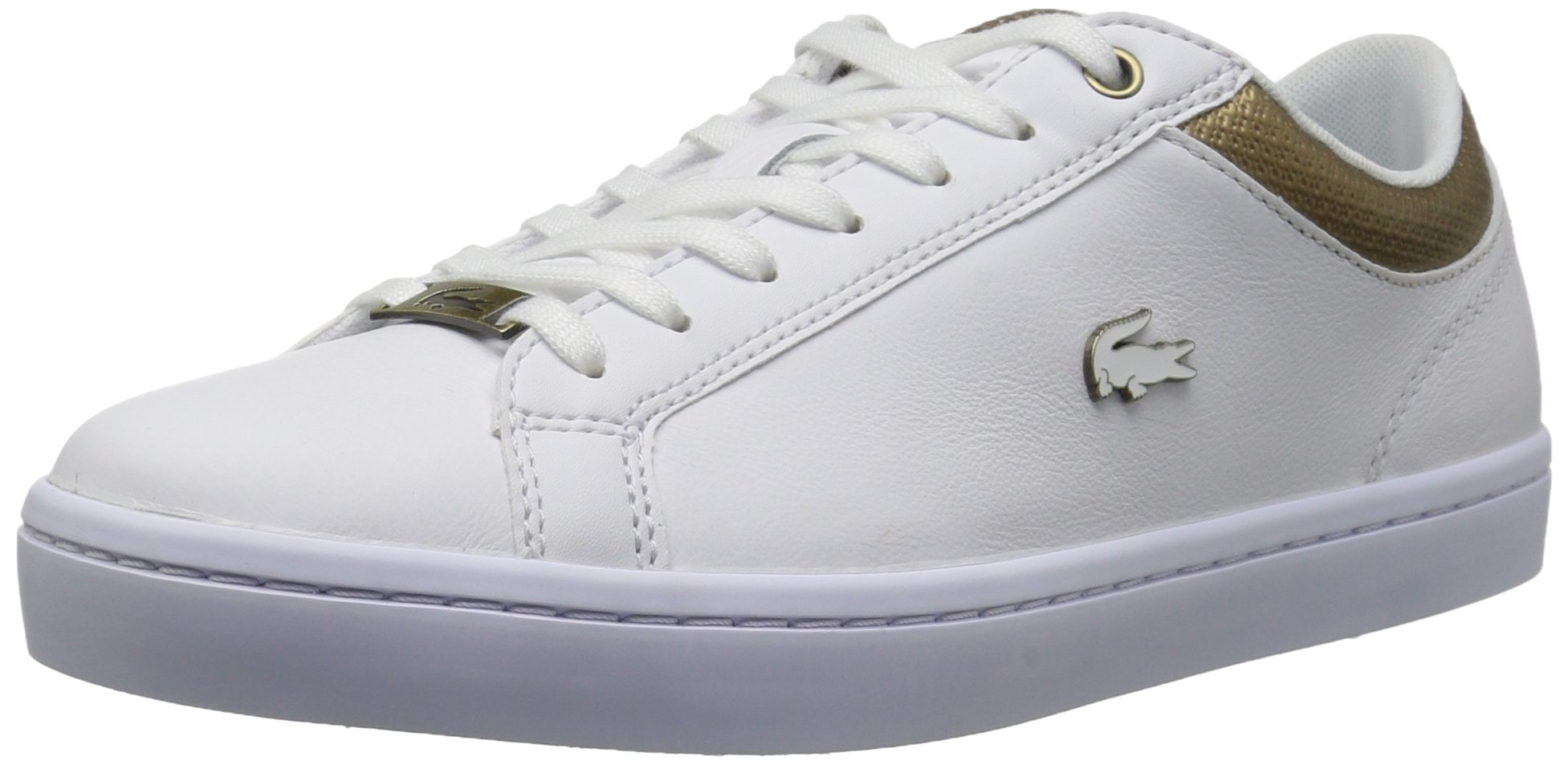 Lacoste Women's Straightset Sneakers,White/Gold Leather,7.5 M US