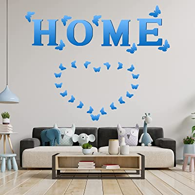 Buy 4 Pieces Home Sign Letters Acrylic Mirror Wall Decor Stickers 35 Pieces Butterfly 3d Mirror Wall Decal Family Farmhouse Wall Decor Diy Mirror Wall Mural Stickers For Home Living Room Bedroom