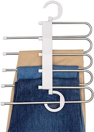 Gancho Para Pantalones Organizador Multiple Ahorra Espacio 5 En 1 Acero Inoxidable Resistente Blanco Amazon Com Mx Herramientas Y Mejoras Del Hogar