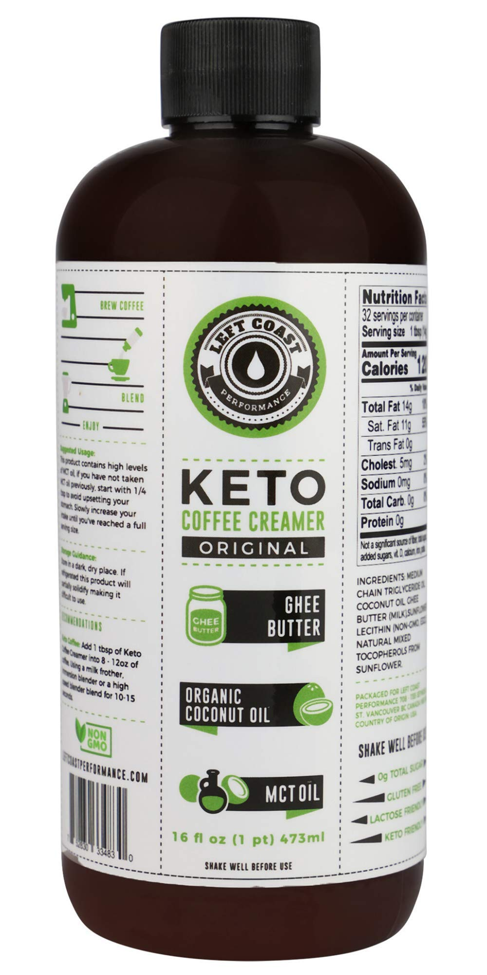 Keto Creamer with MCT Oil. 16oz / 32 Servings. Must Be Blended. No Carb Butter Coffee Booster. Ghee Butter, Organic Coconut Oil, MCT Oil by Left Coast Performance