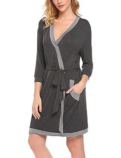 7358713e3c Hotouch Women Kimono Robes Cotton Lightweight Robe Short Knit Bathrobe Soft Sleepwear  Ladies Loungewear S-