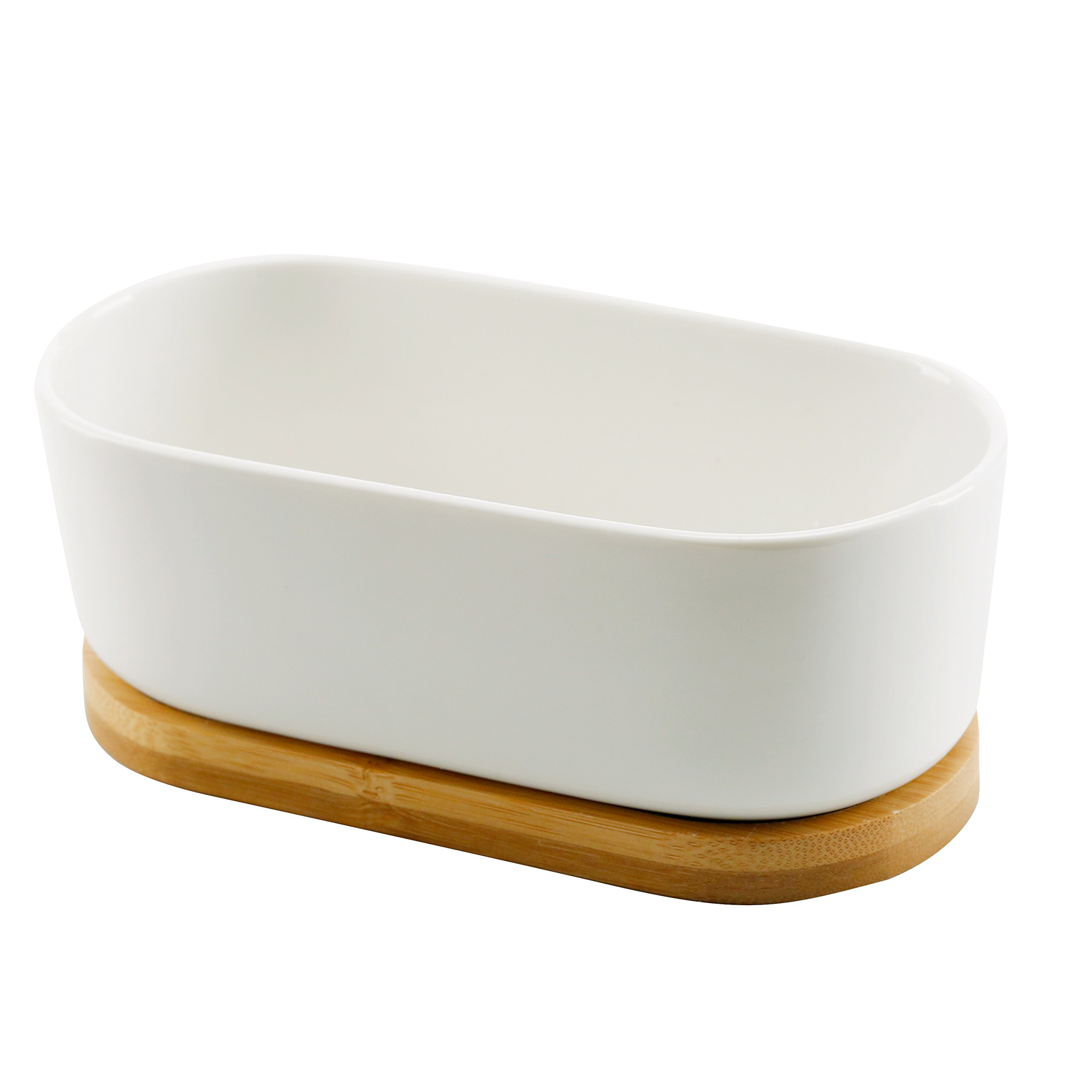 Oval-Shaped White Ceramic Succulent Planter, 6.5-Inch Container with Removable Bamboo Saucer