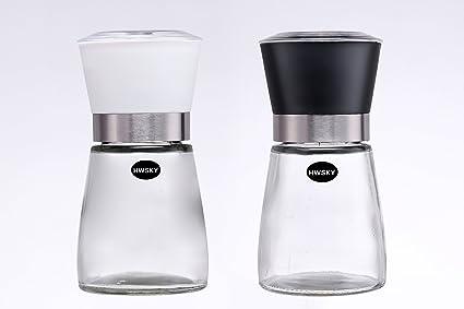 Sal y pimienta Grinder Set – hwsky salero y pimentero Set con botella de cristal y