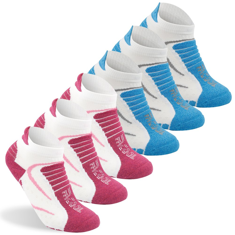 Facool Women's Comfortable Running Hiking Socks Anti-Blister Dot Technology Moisture Wicking Low Cut Atheltic Sock,One Size,6 Pairs Blue&white/Red&white by Facool
