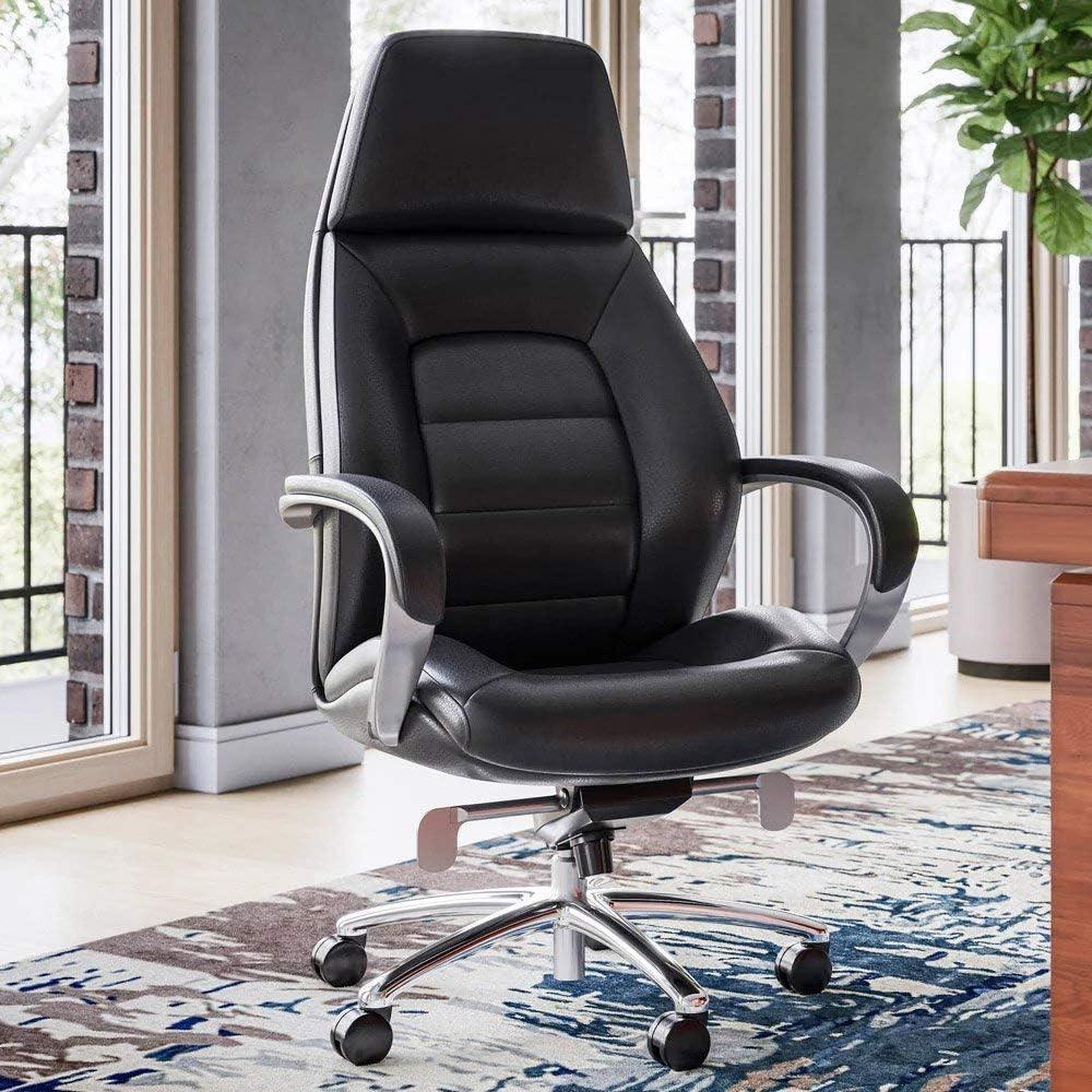 Gates Genuine Leather Aluminum Base High Back Executive Chair Black Furniture Decor Amazon Com