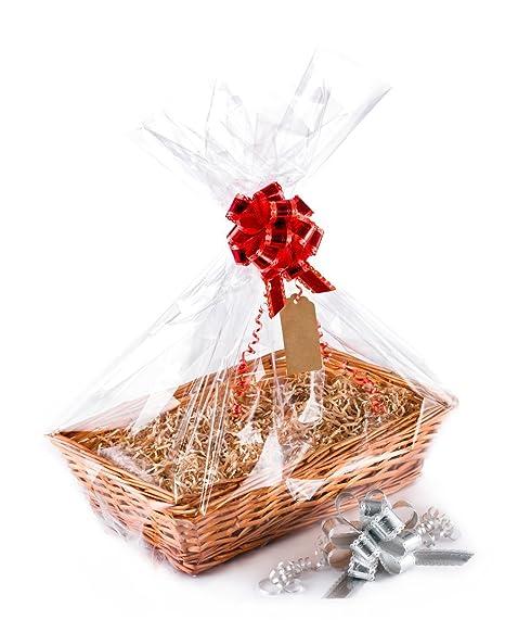 1 cesta de mimbre Woodluv (ideal para crear tu propio regalo de Navidad, bautizo, boda, o regalo de cumpleaños)