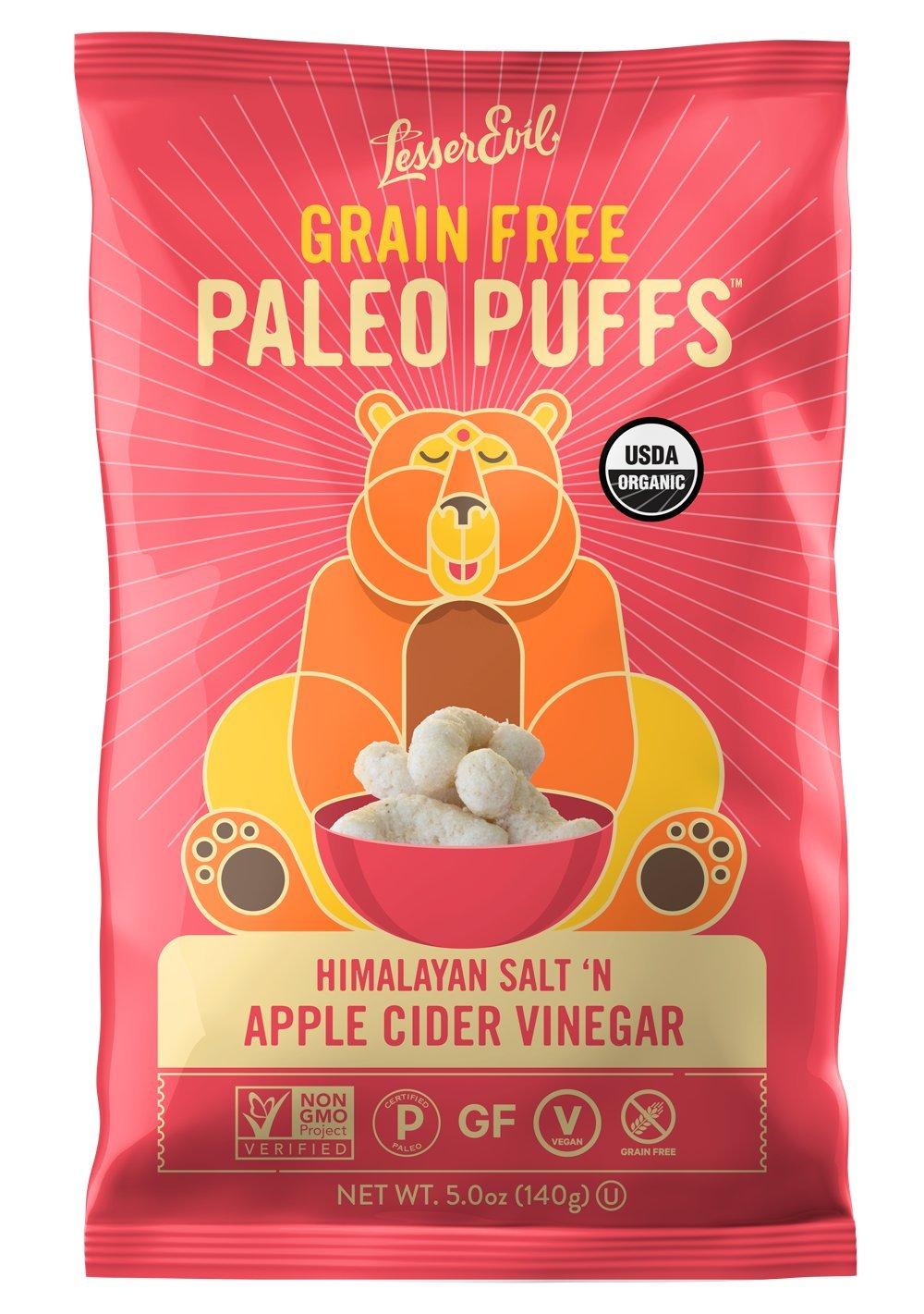 LesserEvil Grain Free Vegan Paleo Puffs, Himalayan Salt + Apple Cider Vinegar, 5 Ounce, 1 Count